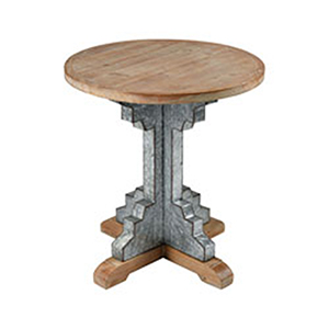 Coachella Wood Tone and Galvanized Steel Accent Table