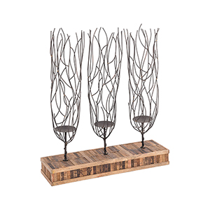 Bronze and Natural Mango Wood 22-Inch Candle Holder