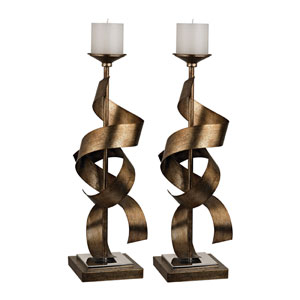 Gold 21-Inch Metal Sculpture Candle Holder, Set of 2