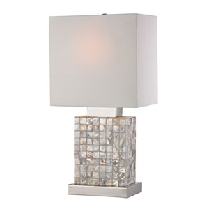 Mother of Pearl and Chrome 17-Inch One Light Table Lamp