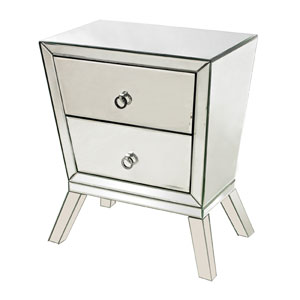 Clear 25-Inch Rectangular Mirrored Cabinet