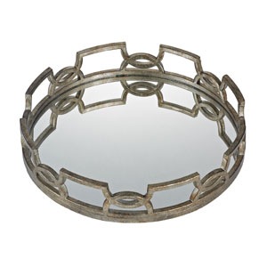 Bronze 20-Inch Scroll Mirrored Tray