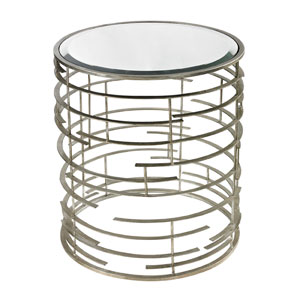 Sculptural Silver 22-Inch Side Table with Clear Glass Top