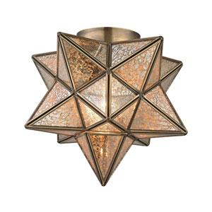 Moravian Gold Antique Mercury One-Light 11-Inch Flush Mount
