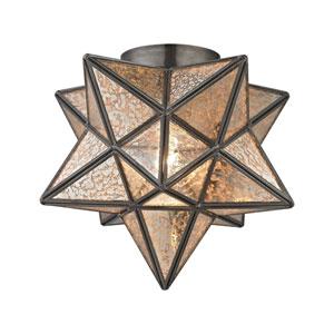 Moravian Oiled Bronze Antique Mercury One-Light 11-Inch Flush Mount