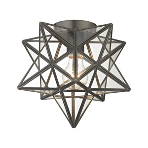 Moravian Bronze Clear One-Light Flush