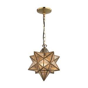 Moravian Gold Antique Mercury One-Light 11-Inch Pendant