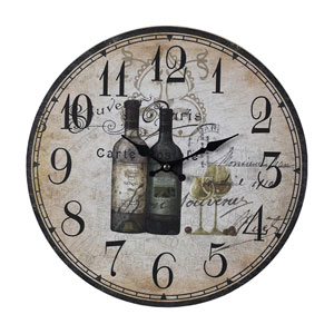 Wine Bottles Rattan Wood 13-Inch Wall Clock