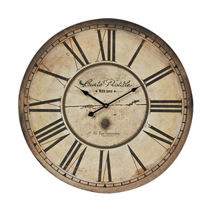 Carte Postal Antique Cream and Black 23.6-Inch Wall Clock
