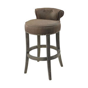 Saloon Taupe and Dark Wood Bar Chair