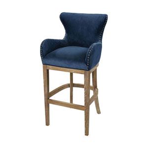 Roxie Navy and Reclaimed Oak Bar Chair
