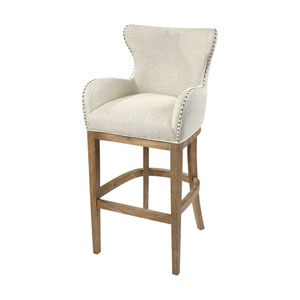 Roxie Cream and Reclaimed Oak Linen Bar Chair