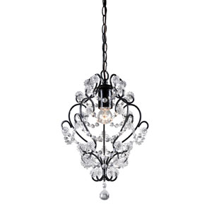 Black Framed One-Light Mini Pendant with Clear Crystal