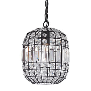 Dark Bronze and Clear Crystal 11-Inch One Light Mini Pendant