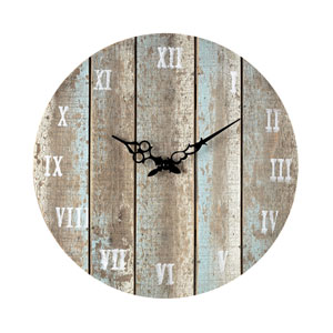 Roman Numeral Wood and Light Blue 16-Inch Outdoor Wall Clock