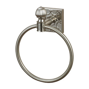 Dowling Brushed Steel Towel Ring with Embossed Back Plate