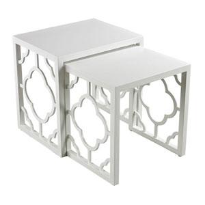 Matte White 21-Inch Nesting Table, Set of 2