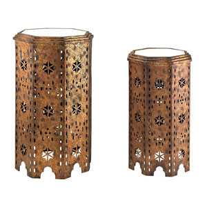 Moroccan Gold 27-Inch Side Table, Set of 2