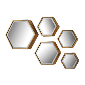 Soft Gold Hexagonal Beveled Mirror, Set of Five