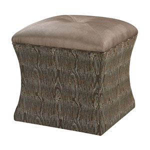 Green and Metallic 19-Inch Ottoman