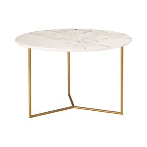 Glacier Gold and White Printed Marble Accent Table