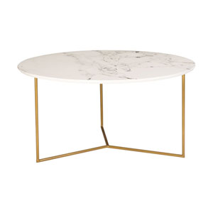 Glacier Gold and White Printed Marble Coffee Table