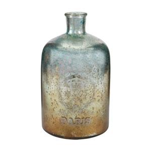 Aqua and Antique Mercury 12-Inch Tall Glass Bottle