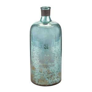 Aqua and Antique Mercury 13-Inch Tall Glass Bottle