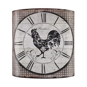 Grey Tartan Stylized Rooster Wall Clock