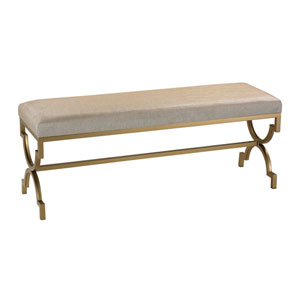 Gold Double Bench with Cream Metallic Linen