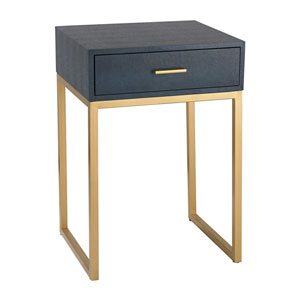 Navy Faux Shagreen with Gold Table