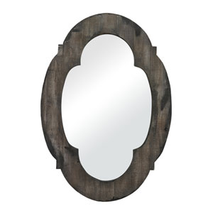 Grantham Grey 28-Inch Wood Framed Arched and Crowned Mirror