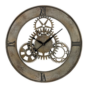 Rossmen Court Silver and Antique Champagne 30-Inch Wall Clock