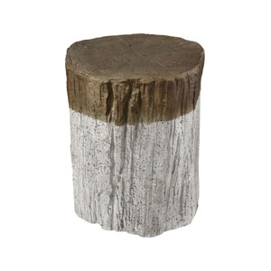 Sutters Whitewash and Natural Bark Fort Stool