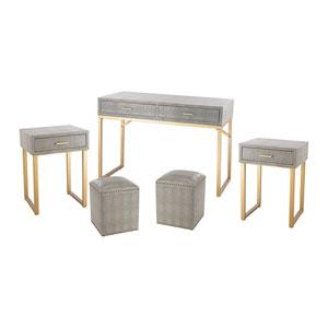 5-Piece Beaufort Gold Grey Table Set