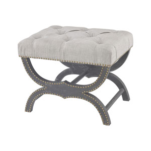 Arnaz Aged Black Grey Linen Bench