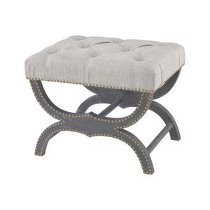 Arnaz Aged Black Grey Linen Bench