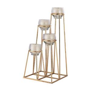 Gold Skyline Cupped Tea Light Holder