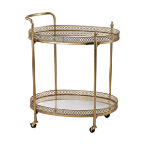 Gold Banded Oval Bar Cart