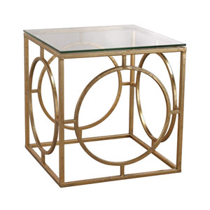 Gold Leafed Ring and Glass Table