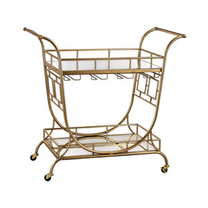 Gold Mirrored Server Bar Cart
