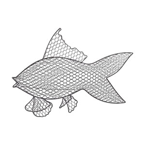 Grey Iron Wire Fish Wall Decor