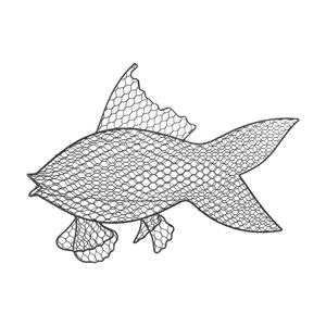Grey Iron Wire Fish Wall Decor
