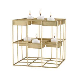 Plaza Gold Leaf Candle Holder