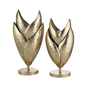 Set of 2 Honeychaff Gold Leaf Candle Holders