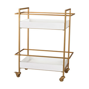 Gold and Gloss White Bar Cart
