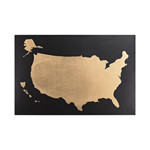 Black and Gold Metallic World Map