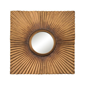 Terraced Aged Gold Panel Mirror