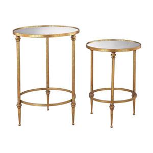 Set of 2 Alcazar Antique Gold Accent Tables