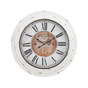 Theodore Antique White Wall Clock